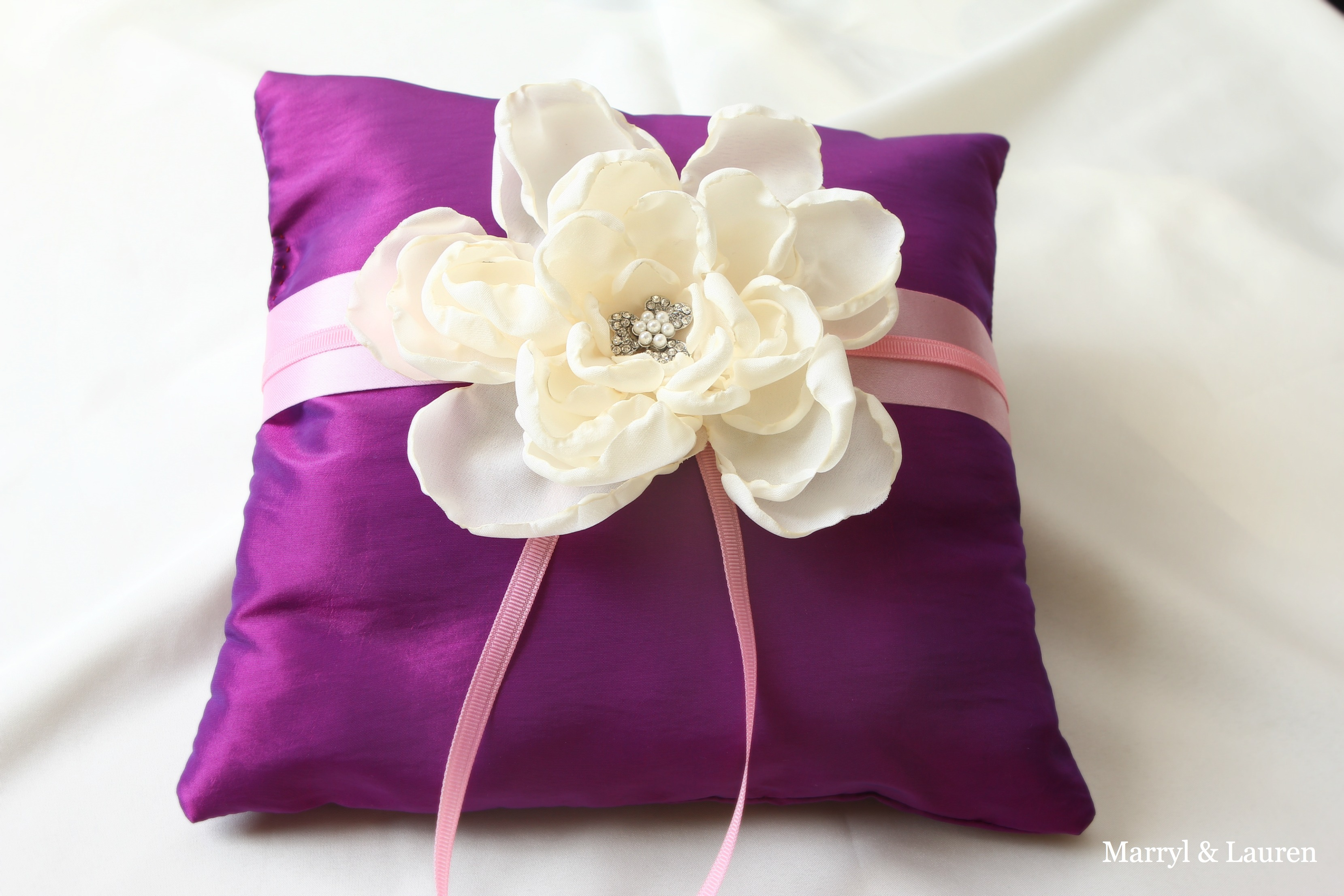 Purple and Pink Wedding Ring Pillow